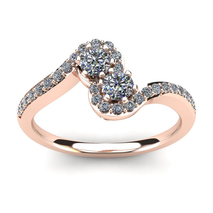 1/2 Carat Two Stone Diamond Swirl Ring in 14K Rose Gold (3.8 g),