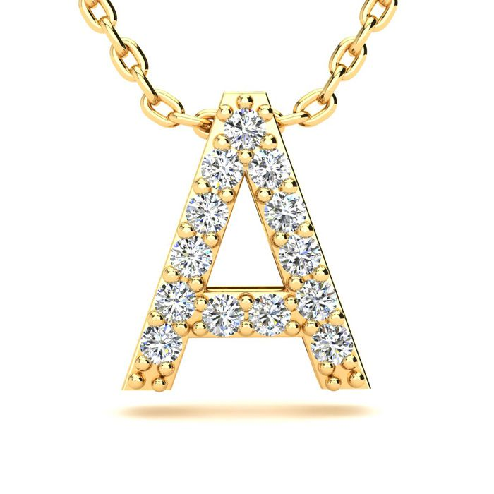 A Initial Necklace in Yellow Gold (2.4 g) w/ 13 Diamonds, H/I, 18 Inch Chain by SuperJeweler