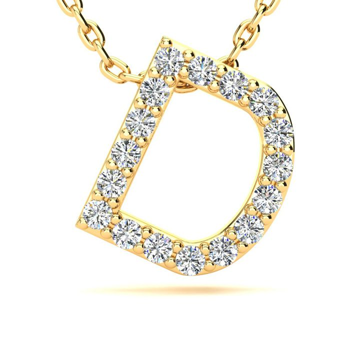 D Initial Necklace in Yellow Gold (2.4 g) w/ 17 Diamonds, H/I, 18