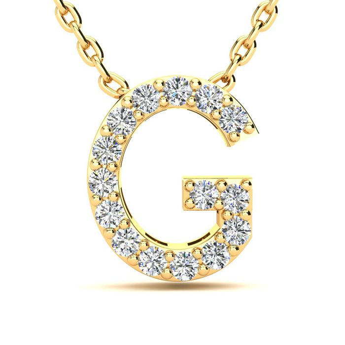 G Initial Necklace in Yellow Gold (2.4 g) w/ 15 Diamonds, H/I, 18