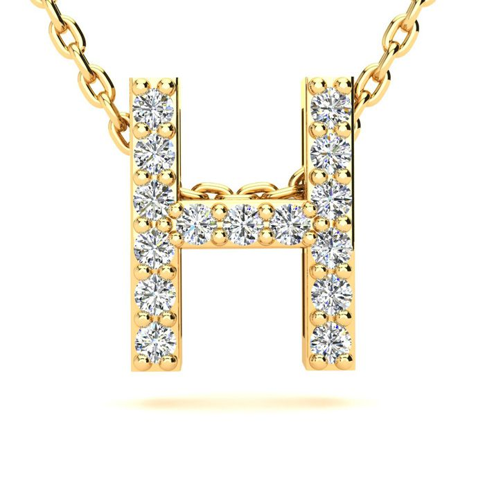 H Initial Necklace in Yellow Gold (2.4 g) w/ 15 Diamonds, H/I, 18