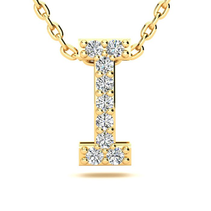 I Initial Necklace in Yellow Gold (2.4 g) w/ 9 Diamonds, H/I, 18