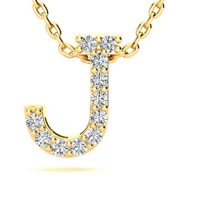 J Initial Necklace in Yellow Gold (2.4 g) w/ 11 Diamonds, H/I, 18 Inch Chain by SuperJeweler
