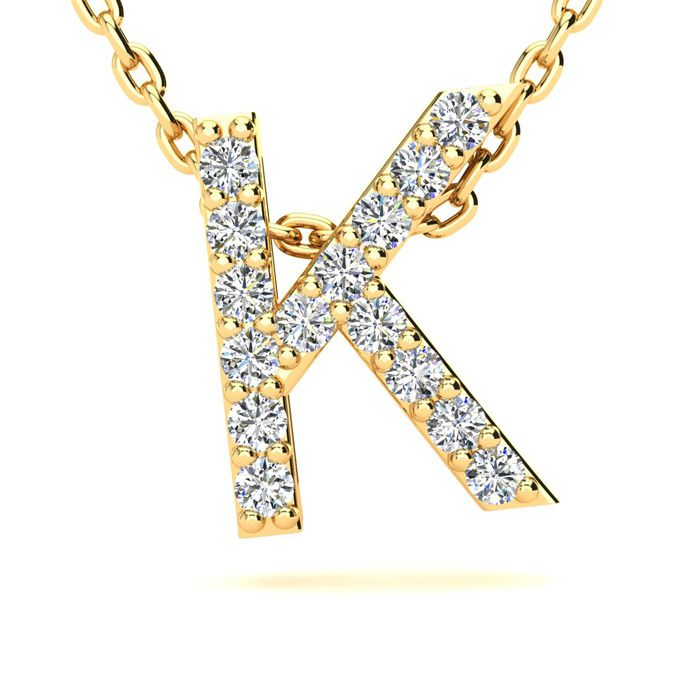 K Initial Necklace in Yellow Gold (2.4 g) w/ 15 Diamonds, H/I, 18