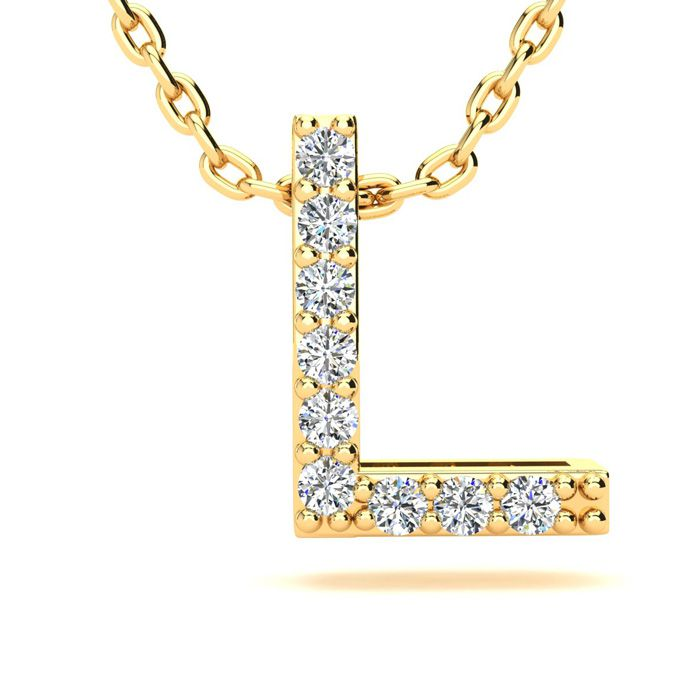 L Initial Necklace in Yellow Gold (2.4 g) w/ 9 Diamonds, H/I, 18 Inch Chain by SuperJeweler