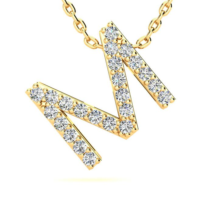 M Initial Necklace in Yellow Gold (2.4 g) w/ 23 Diamonds, H/I, 18