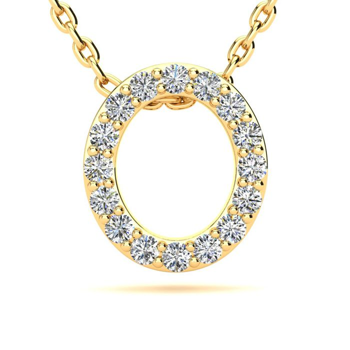 O Initial Necklace in Yellow Gold (2.4 g) w/ 16 Diamonds, H/I, 18 Inch Chain by SuperJeweler