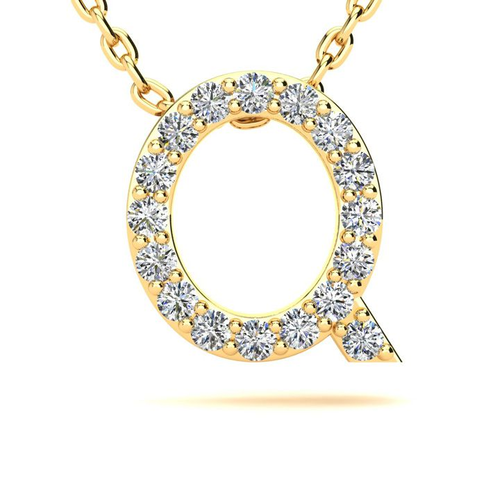 Q Initial Necklace in Yellow Gold (2.4 g) w/ 17 Diamonds, H/I, 18