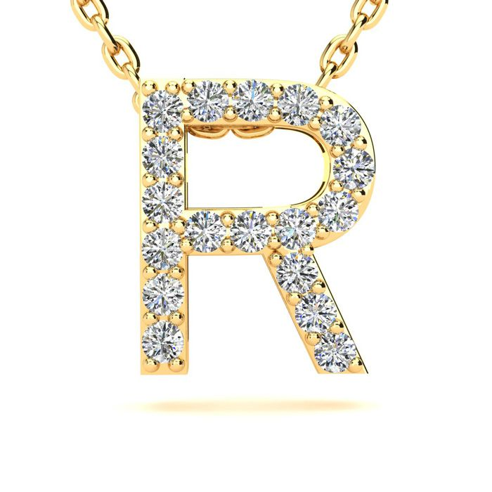 R Initial Necklace in Yellow Gold (2.4 g) w/ 18 Diamonds, H/I, 18
