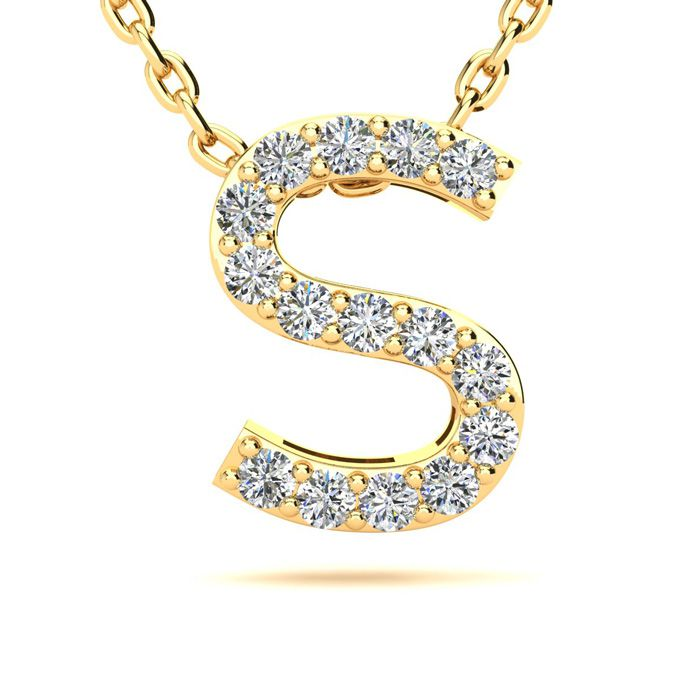 S Initial Necklace in Yellow Gold (2.4 g) w/ 15 Diamonds, H/I, 18 Inch Chain by SuperJeweler