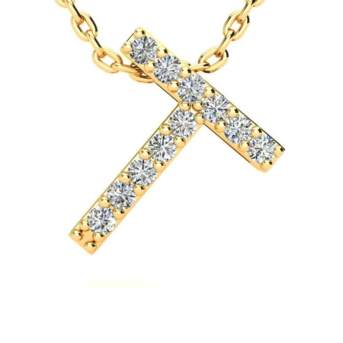 T Initial Necklace in Yellow Gold (2.4 g) w/ 11 Diamonds, H/I, 18