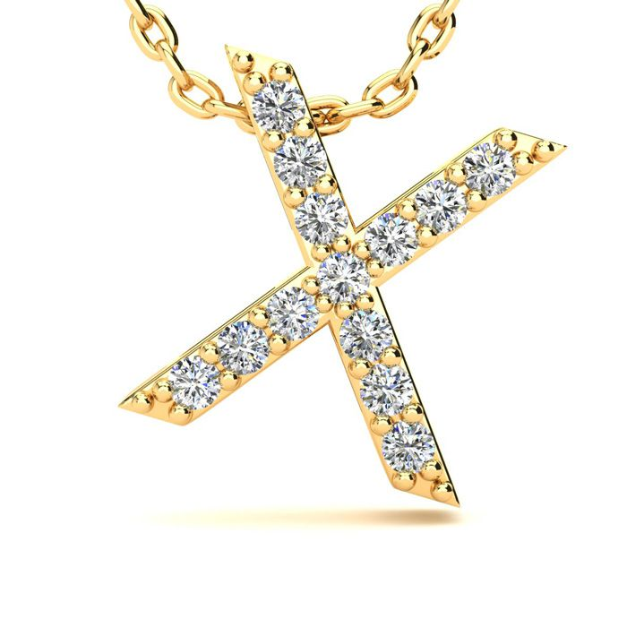 X Initial Necklace in Yellow Gold (2.4 g) w/ 13 Diamonds, H/I, 18