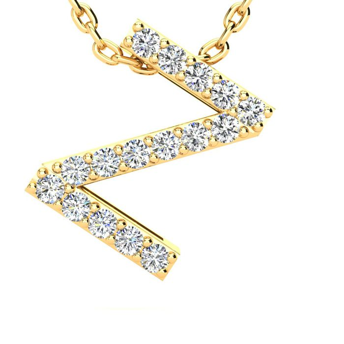 Z Initial Necklace in Yellow Gold (2.4 g) w/ 16 Diamonds, H/I, 18