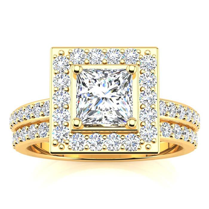 2 Carat Princess Cut Halo Diamond Bridal Engagement Ring Set in 1