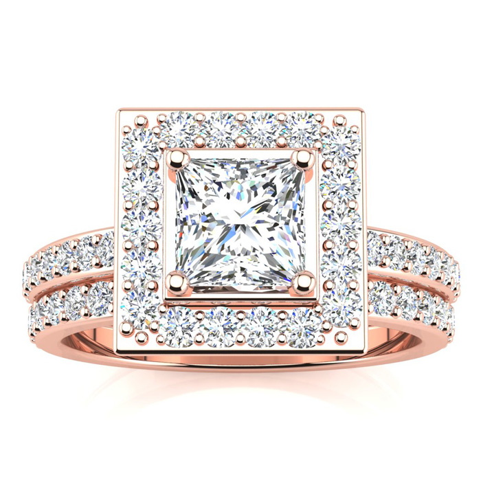 2 Carat Princess Cut Halo Diamond Bridal Engagement Ring Set in 1