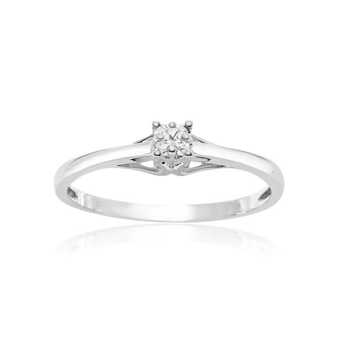 .05 Carat Diamond Promise Ring in Sterling Silver, I/J by SuperJe