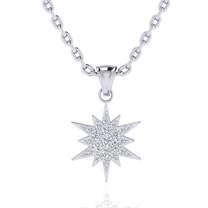 1/4 Carat Diamond Starburst Necklace, Sterling Silver, 18 Inches,