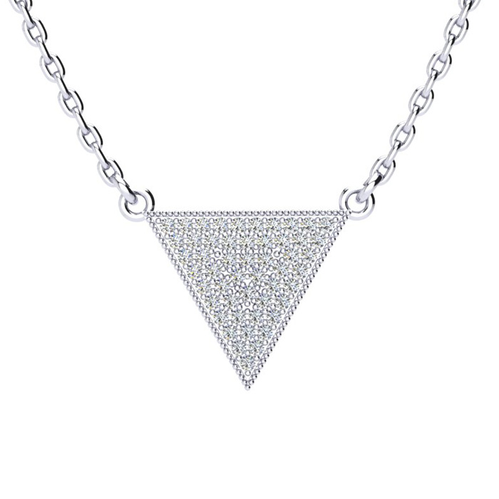 Over 1/3 Carat Diamond Triangle Necklace, Sterling