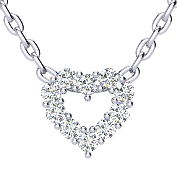 1 3 Carat Fine Diamond Heart Necklace In Solid Sterling Silver Item Number Jwl 18394