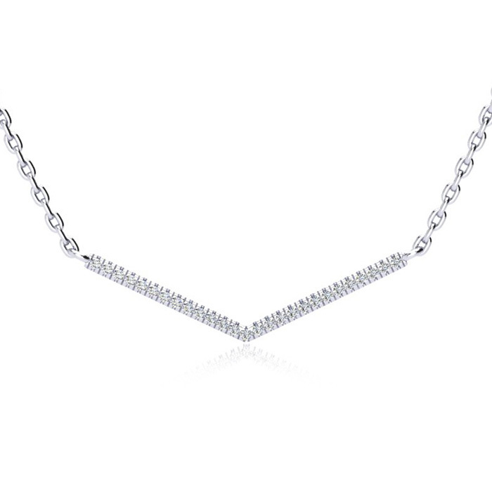 1/5 Carat V Bar Diamond Necklace, Sterling Silver, 18 Inches, J/K by Adoriana