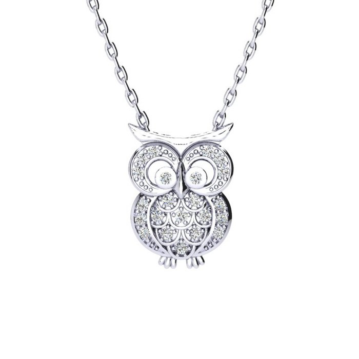 Image of 1/4 Carat Diamond Owl Necklace, Sterling Silver, 18 Inches