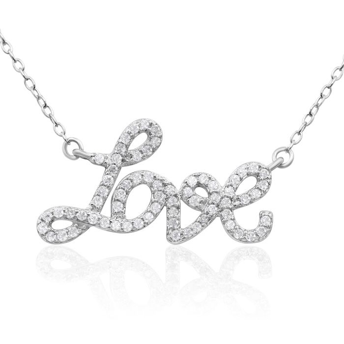 Image of 1/2 Carat Diamond Love Necklace, Sterling Silver, 18 Inches