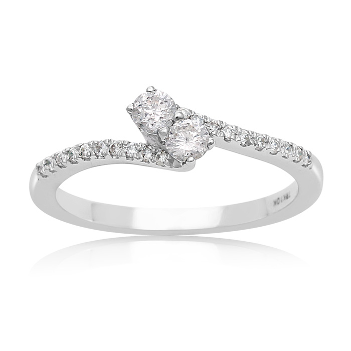 1/4 Carat Two Stone Diamond Bonded Love Ring in White Gold, I/J by SuperJeweler