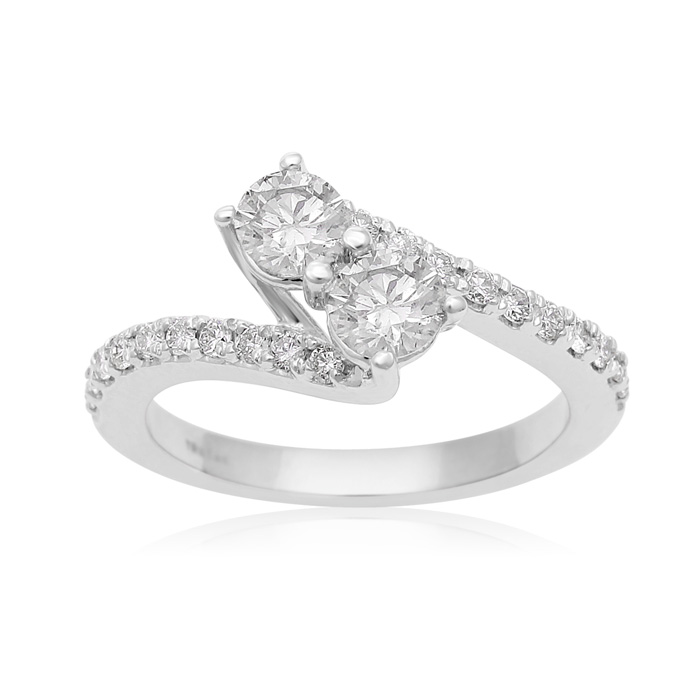 1 Carat Two Stone Diamond Bonded Love Ring in White Gold, I/J by