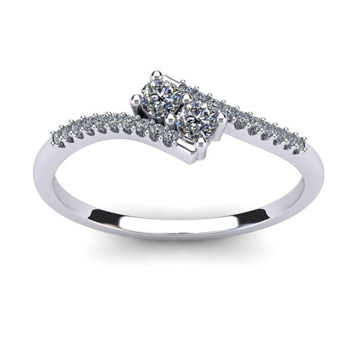 1/4 Carat Two Stone Diamond Bonded Love Ring in White Gold, I/J b