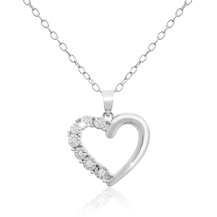 IGI Certified 0.04 Carat Diamond Heart Necklace in Sterling Silve