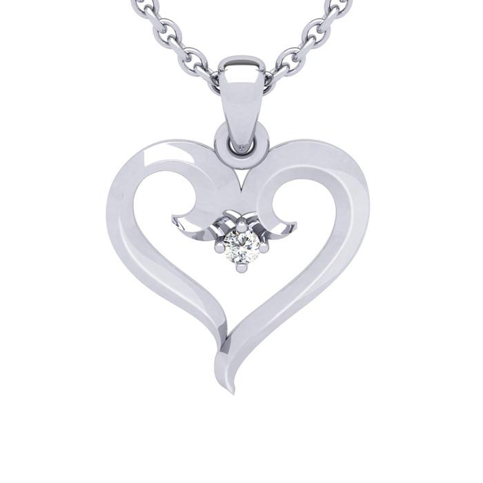 White Gold (2.7 g) Swirly Heart w/ Single Fiery 5 Point Diamond o