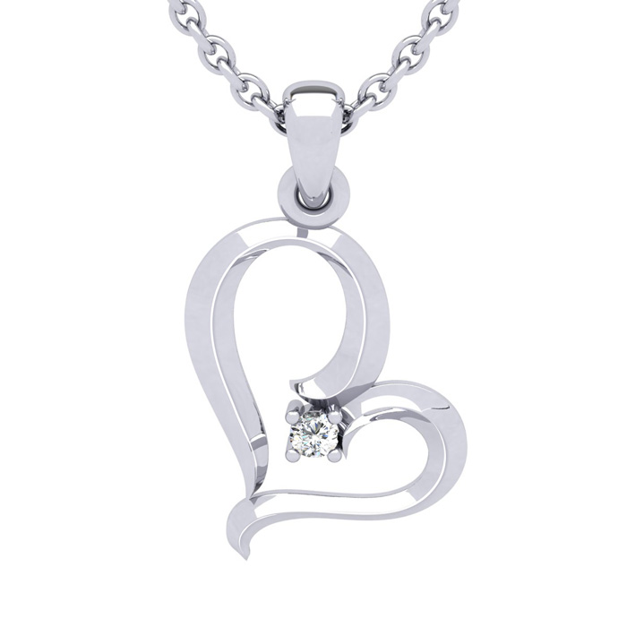 White Gold (2.7 g) Reclining Heart w/ Single Fiery 5 Point Diamond on 18 Inch Chain Necklace, I/J by SuperJeweler