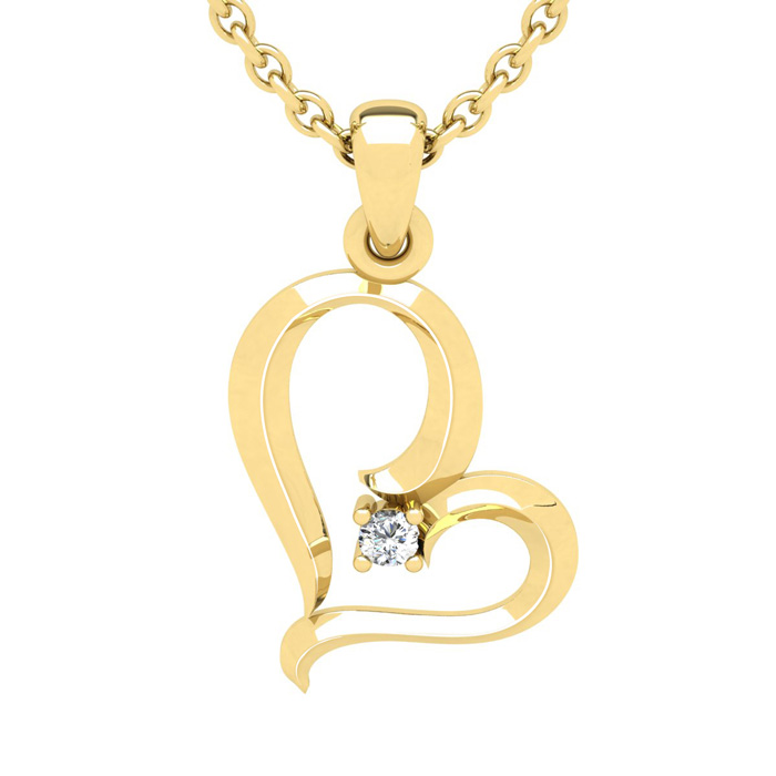Yellow Gold (2.7 g) Reclining Heart w/ Single Fiery 5 Point Diamo