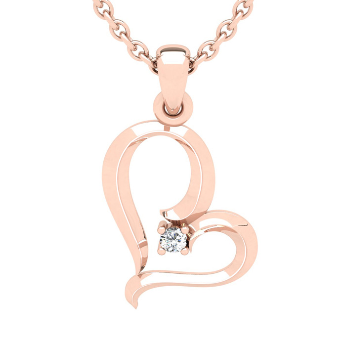 Rose Gold (2.7 g) Reclining Heart w/ Single Fiery 5 Point Diamond