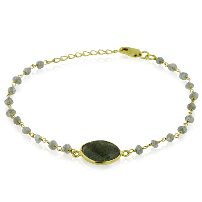 6 Carat Labradorite Bracelet in Sterling Silver w/ Gold Overlay,