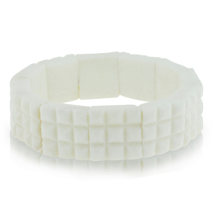 Enhanced White Coral Stretch Bracelet, 7 Inch by Sundar Gem
