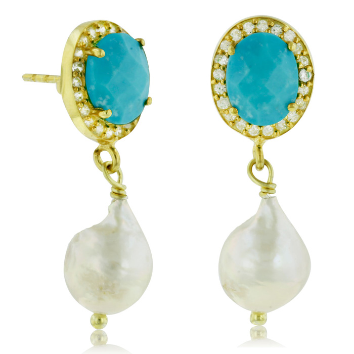 6 Carat Turquoise & Pearl Halo Dangle Earrings, Sterling Silver w
