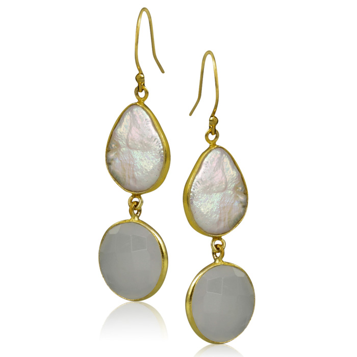 20 Carat Moonstone & Pearl Earrings in Sterling Silver w/ Gold Overlay by Sundar Gem