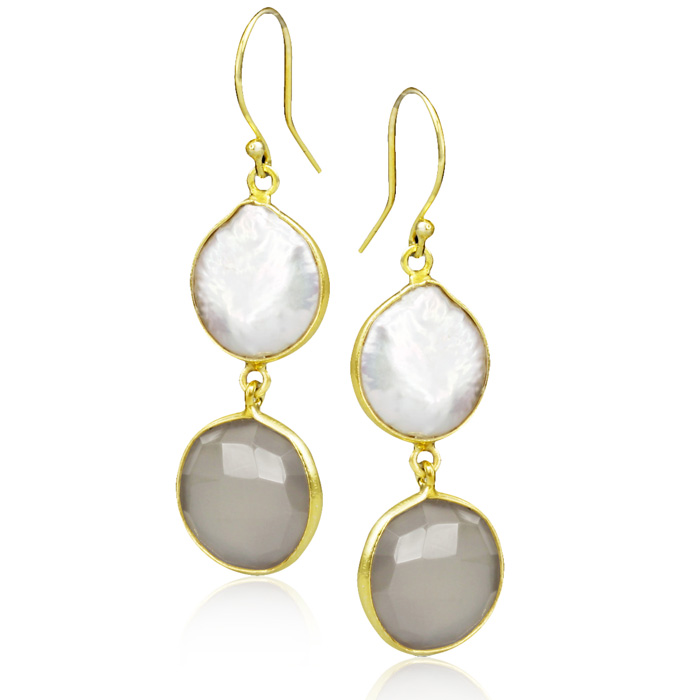 20 Carat Grey Onyx & Pearl Earrings in Sterling Silver w/ Gold Overlay by Sundar Gem