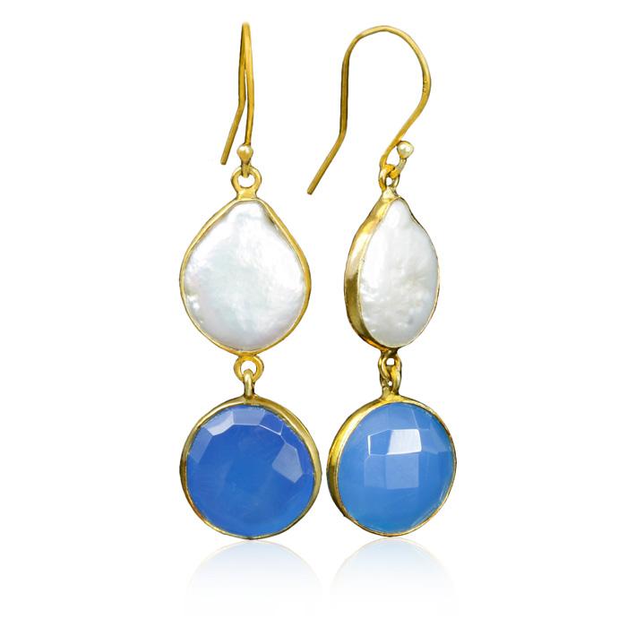 20 Carat Blue Chalcedony & Pearl Earrings in Sterling Silver w/ Gold Overlay by Sundar Gem