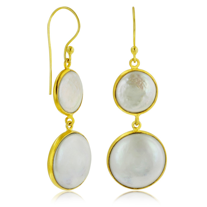 Vintage Inspired Double Pearl Dangle Earrings, 18K Gold Overlays