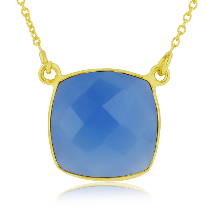 12 Carat Cushion Cut Blue Onyx Pendant Necklace in 18K Gold Overl