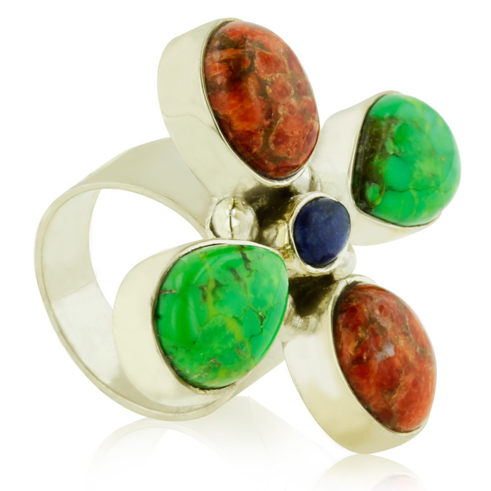 Green Turquoise, Coral & Lapis Floral Statement Ring in Sterling Silver by S..