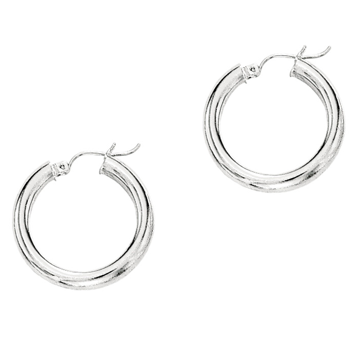 14K White Gold (0.9 g) Polish Finished 15mm Hoop Earrings w/ Hing
