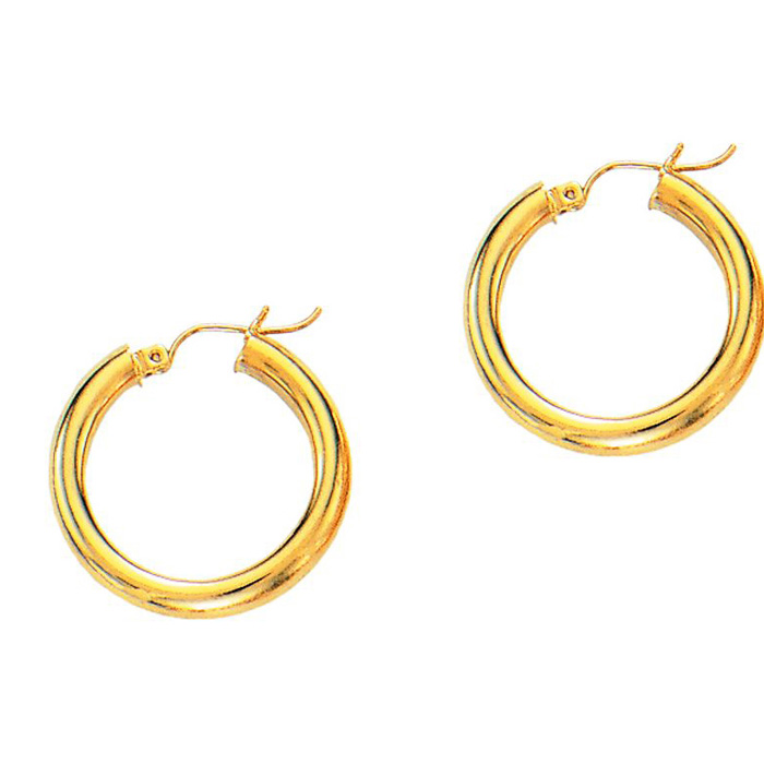 14K Yellow Gold (0.9 g) Polish Finished 15mm Hoop Earrings w/ Hin