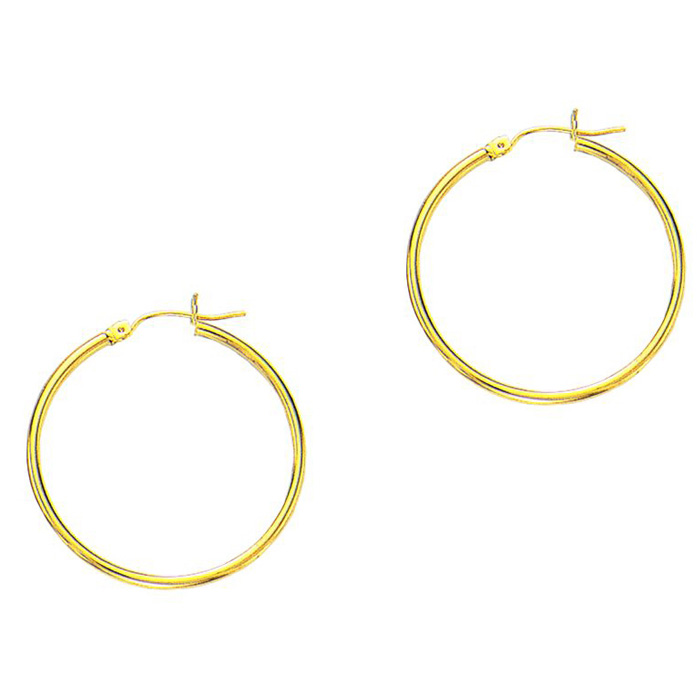 14K Yellow Gold (1.1 g) Polish Finished 25mm Hoop Earrings w/ Hinge w/ Notched Closure by SuperJeweler