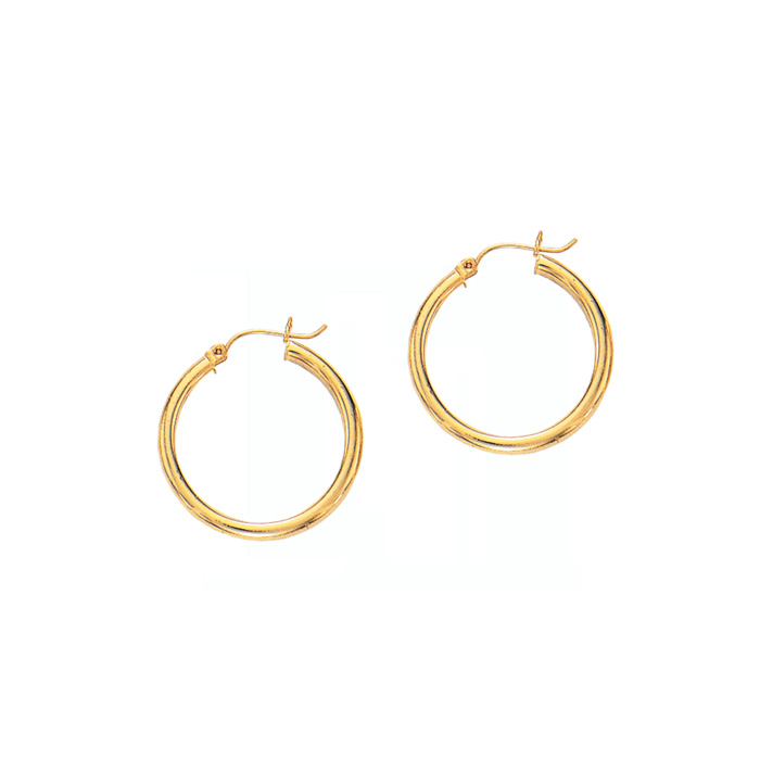 14K Yellow Gold (1.2 g) Polish Finished 25mm Hoop Earrings w/ Hinge w/ Notched Closure by SuperJeweler