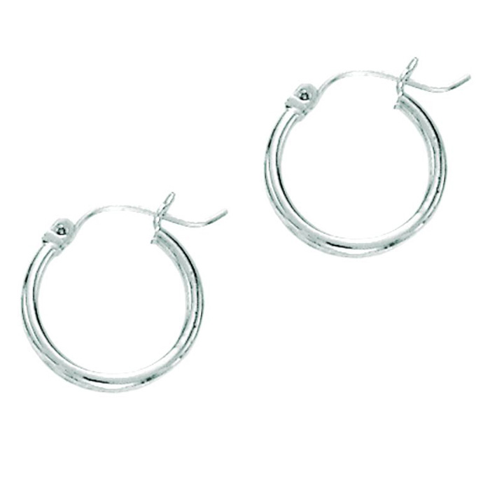 14K White Gold (1.2 g) Polish Finished 25mm Hoop Earrings w/ Hing