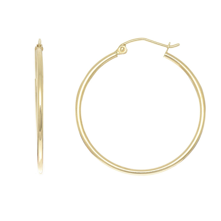 14K Yellow Gold (1.3 g) Polish Finished 30mm Hoop Earrings w/ Hin