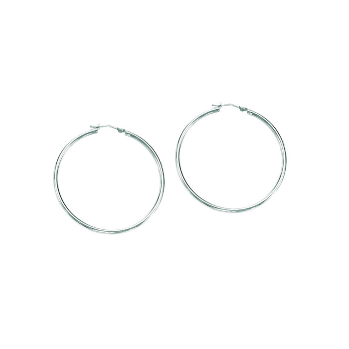 14K White Gold (1.3 g) Polish Finished 30mm Hoop Earrings w/ Hing